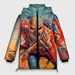 Женская зимняя 3D-куртка с капюшоном с принтом Iron Maiden: Crash arrow, цвет: 3D-черный, артикул: 10089880706071 — фото 1