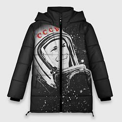 Женская зимняя 3D-куртка с капюшоном с принтом Гагарин в космосе, цвет: 3D-черный, артикул: 10091680406071 — фото 1