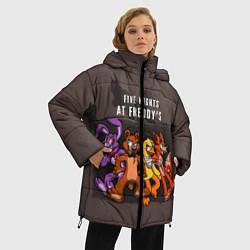 Женская зимняя 3D-куртка с капюшоном с принтом Five Nights At Freddy's, цвет: 3D-черный, артикул: 10093561406071 — фото 2