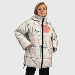 Женская зимняя 3D-куртка с капюшоном с принтом Муж с шариками, цвет: 3D-черный, артикул: 10094830406071 — фото 2