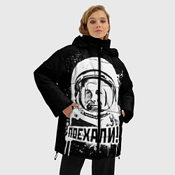 Женская зимняя 3D-куртка с капюшоном с принтом Поехали!, цвет: 3D-черный, артикул: 10095768506071 — фото 2