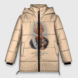 Женская зимняя 3D-куртка с капюшоном с принтом Александр Суворов 1730-1800, цвет: 3D-черный, артикул: 10095769406071 — фото 1