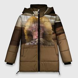Женская зимняя 3D-куртка с капюшоном с принтом Мартышка, цвет: 3D-черный, артикул: 10096243406071 — фото 1