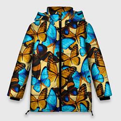 Женская зимняя 3D-куртка с капюшоном с принтом Бабочки, цвет: 3D-черный, артикул: 10096494806071 — фото 1