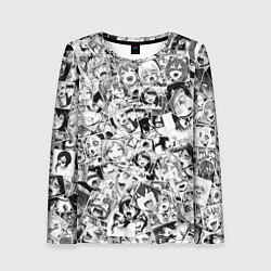 Лонгслив женский Ahegao: Black & White цвета 3D — фото 1