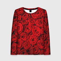 Лонгслив женский Красные розы цвета 3D — фото 1