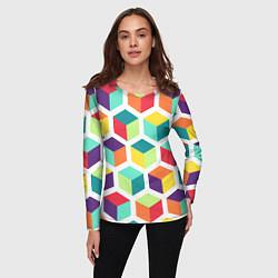 Лонгслив женский 3D кубы цвета 3D — фото 2