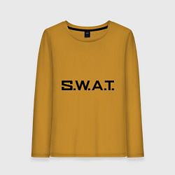 Лонгслив хлопковый женский S.W.A.T цвета горчичный — фото 1
