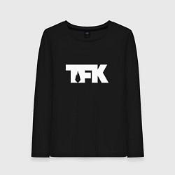 Лонгслив хлопковый женский TFK: White Logo цвета черный — фото 1