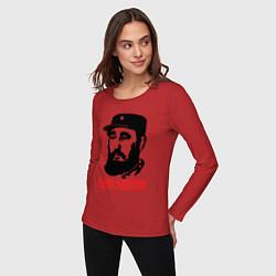 Лонгслив хлопковый женский Fidel Castro цвета красный — фото 2
