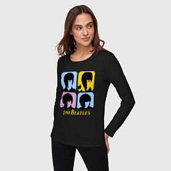 Лонгслив хлопковый женский The Beatles: pop-art цвета черный — фото 2