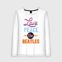 Лонгслив хлопковый женский Love peace the Beatles цвета белый — фото 1