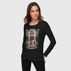 Лонгслив хлопковый женский Достоевский Федор цвета черный — фото 2