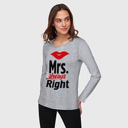 Лонгслив хлопковый женский Mrs. always right цвета меланж — фото 2