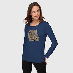 Лонгслив хлопковый женский Metallized Snow Leopard цвета тёмно-синий — фото 2