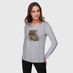 Лонгслив хлопковый женский Metallized Snow Leopard цвета меланж — фото 2