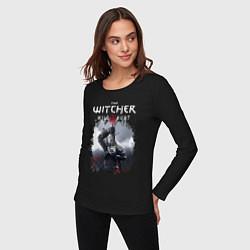 Лонгслив хлопковый женский ВЕДЬМАК цвета черный — фото 2