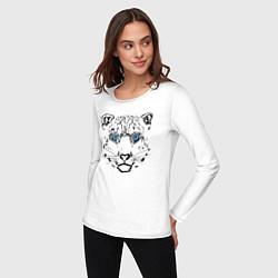 Лонгслив хлопковый женский Снежный барс цвета белый — фото 2