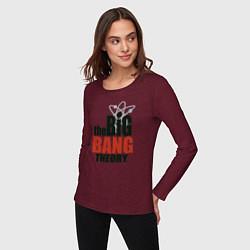 Лонгслив хлопковый женский Big Bang Theory logo цвета меланж-бордовый — фото 2