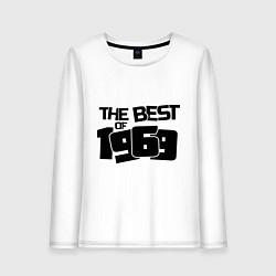 Лонгслив хлопковый женский The best of 1969 цвета белый — фото 1