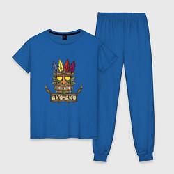 Пижама хлопковая женская Aku-Aku (Crash Bandicoot) цвета синий — фото 1