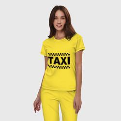 Пижама хлопковая женская Taxi цвета желтый — фото 2