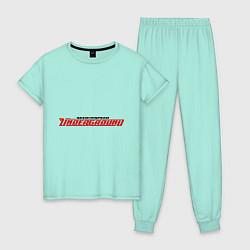 Пижама хлопковая женская NFS Undeground цвета мятный — фото 1