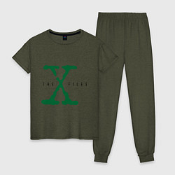 Пижама хлопковая женская The X-files цвета меланж-хаки — фото 1