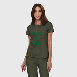 Пижама хлопковая женская The X-files цвета меланж-хаки — фото 2