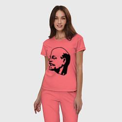 Пижама хлопковая женская Ленин: скульптура цвета коралловый — фото 2
