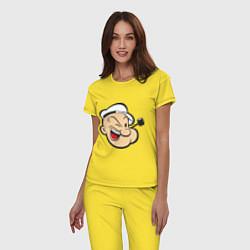 Пижама хлопковая женская Popeye Face цвета желтый — фото 2