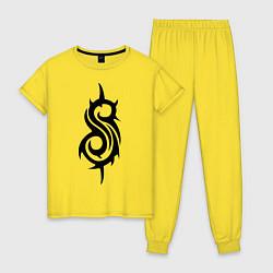 Пижама хлопковая женская Slipknot цвета желтый — фото 1