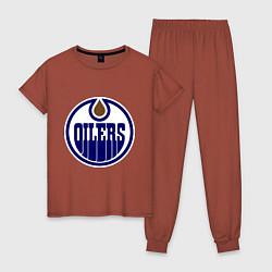 Пижама хлопковая женская Edmonton Oilers цвета кирпичный — фото 1