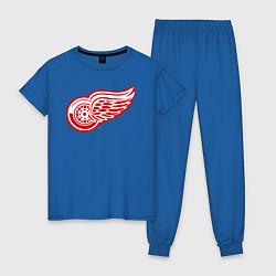 Пижама хлопковая женская Detroit Red Wings цвета синий — фото 1