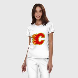 Пижама хлопковая женская Calgary Flames цвета белый — фото 2