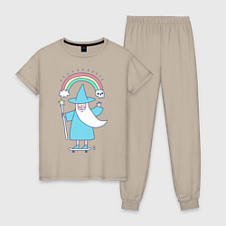 Пижама хлопковая женская Skate mage цвета миндальный — фото 1