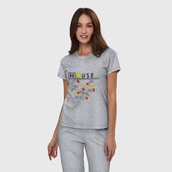 Пижама хлопковая женская House M.D. Pills цвета меланж — фото 2