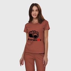 Пижама хлопковая женская Paparazzi цвета кирпичный — фото 2