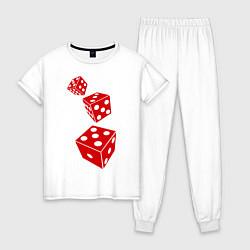 Пижама хлопковая женская Игральные кости цвета белый — фото 1