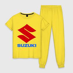 Пижама хлопковая женская Suzuki цвета желтый — фото 1