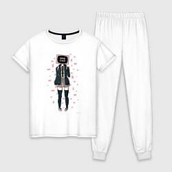 Пижама хлопковая женская Anime: Game Over цвета белый — фото 1