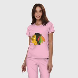 Пижама хлопковая женская Chicago Blackhawks цвета светло-розовый — фото 2