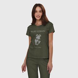 Пижама хлопковая женская Kurt Cobain: 1967-1994 цвета меланж-хаки — фото 2