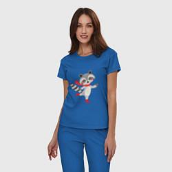 Пижама хлопковая женская Новогодний енот цвета синий — фото 2