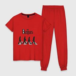 Пижама хлопковая женская The Beatles: Abbey Road цвета красный — фото 1