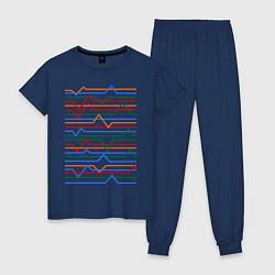 Пижама хлопковая женская Эквалайзер цвета тёмно-синий — фото 1
