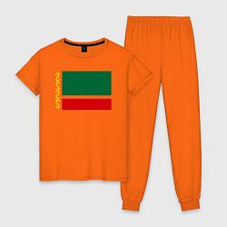 Пижама хлопковая женская Чечня: флаг цвета оранжевый — фото 1