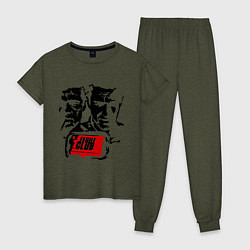 Пижама хлопковая женская Fight Club цвета меланж-хаки — фото 1