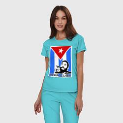 Пижама хлопковая женская Fidel: Viva, Cuba! цвета бирюзовый — фото 2