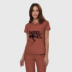 Пижама хлопковая женская Wu-Tang - Rebel Ins цвета кирпичный — фото 2